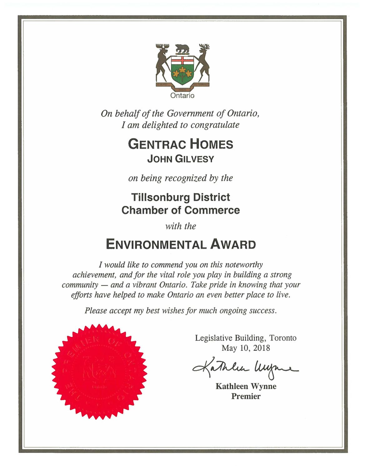 Province Certificate Re Environmental Award