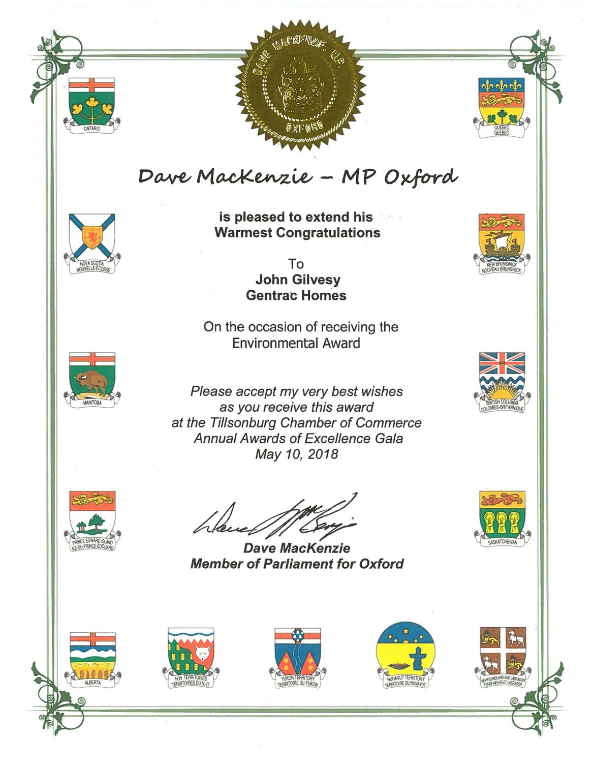 MP Certificate Re Environmental Award